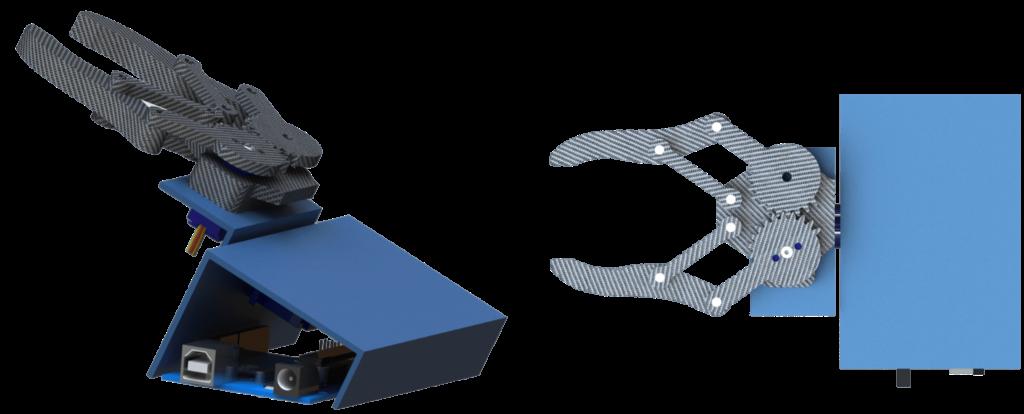 Struttura di esempio della pinza per il controllo di apertura e chiusura della rotazione
