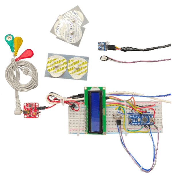 Fig.  21 – Disposizione dei sensori e dell'Arduino nano sulla breadboard.
