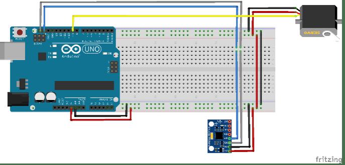 Schema di collegamento del servo e dell'IMU (sensore inerziale).