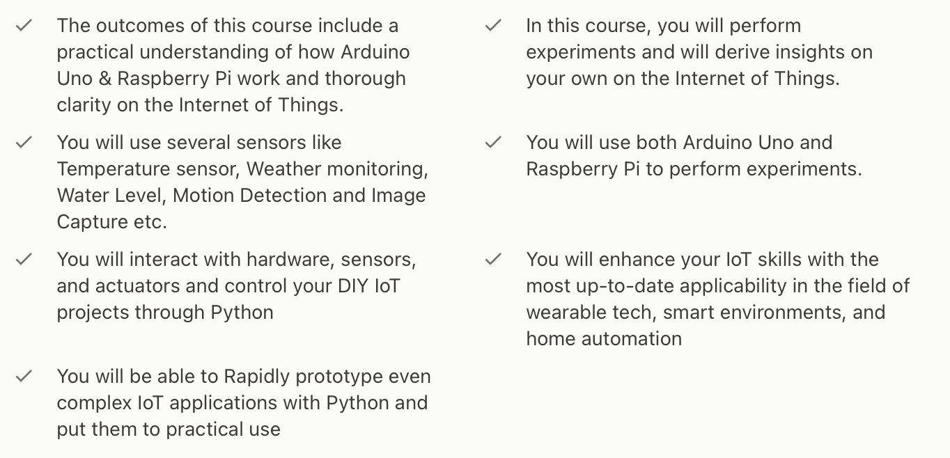 IoT Course Table of Contents